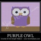 Purple Owl - Afghan Crochet Graph Pattern Chart