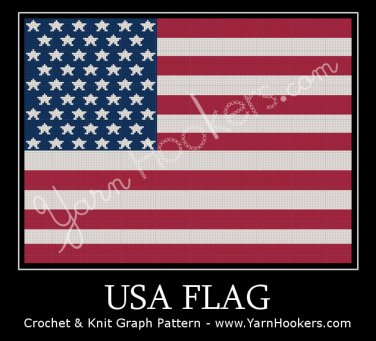 United States of America - USA - Flag - Afghan Crochet Graph Pattern Chart