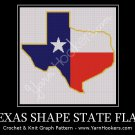 Texas State Shape Flag - Afghan Crochet Graph Pattern Chart