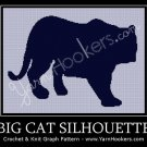 Big Cat Silhouette - Afghan Crochet Graph Pattern Chart
