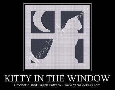 Kitty in the Window - Silhouette - Afghan Crochet Graph Pattern Chart