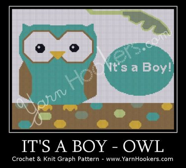 It's a BOY - OWL - Afghan Crochet Graph Pattern Chart