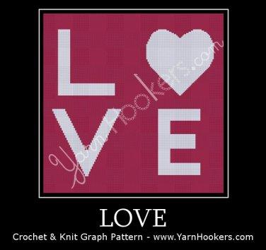 Love - Afghan Crochet Graph Pattern Chart
