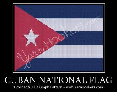 Cuban National Flag - Afghan Crochet Graph Pattern Chart