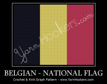 Belgian  National Flag - Afghan Crochet Graph Pattern Chart