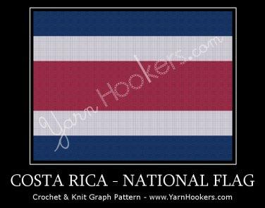 Costa Rican National Flag - Afghan Crochet Graph Pattern Chart