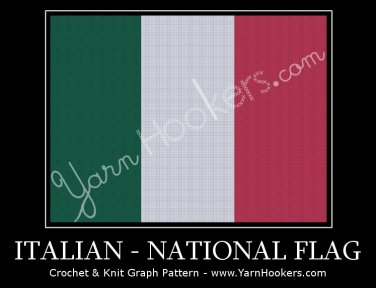 Italian National Flag - Afghan Crochet Graph Pattern Chart