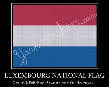 Luxembourg National Flag - Afghan Crochet Graph Pattern Chart