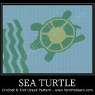 Sea Turtle -  Afghan Crochet Graph Pattern Chart