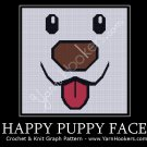 Happy Puppy Face - Afghan Crochet Graph Pattern Chart