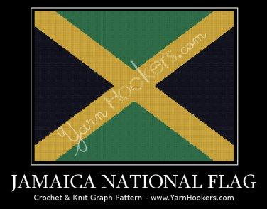Jamaica National Flag - Afghan Crochet Graph Pattern Chart