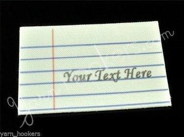 Notebook Paper  - Iron On / Sew In - 100% Cotton Fabric Labels (White)
