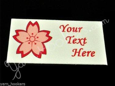Cherry Blossom - Sakura Flower - Iron On / Sew In - 100% Cotton Fabric Labels (W
