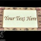 Brown Frame - Iron On / Sew In - 100% Cotton Fabric Labels (White)