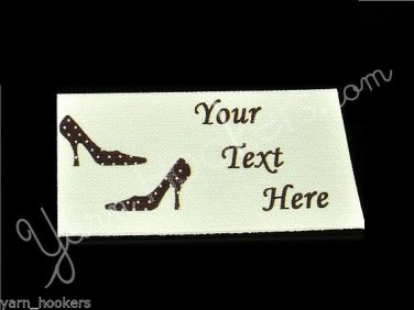 Polka Dot Heels - Iron On / Sew In - 100% Cotton Fabric Labels (White)