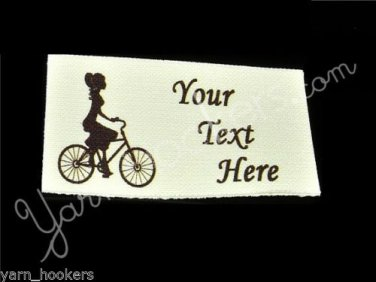 Diva on Bicycle - Iron On / Sew In - 100% Cotton Fabric Labels (White)