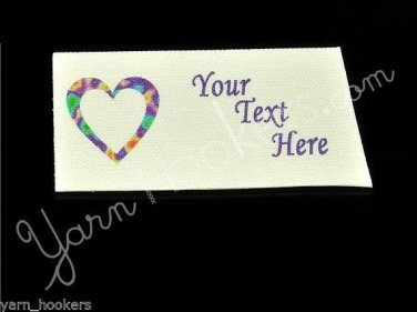 Hippy Heart - Iron On / Sew In - 100% Cotton Fabric Labels (White)