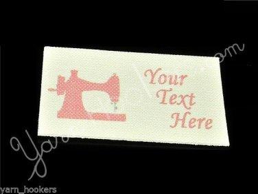 Pink Polka Dot Sewing Machine - 100% Cotton Fabric Labels (White)