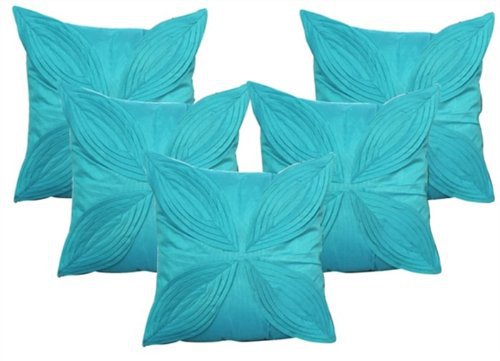 "Floral Pattern Cushions Cover (Pack of 5) -16""x 16"" - Blue"
