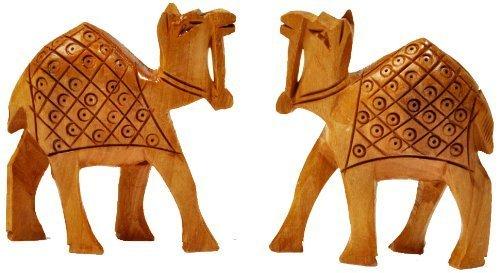 Little India Hand Carved Wooden Camel Handicraft (Set of 2, Brown)