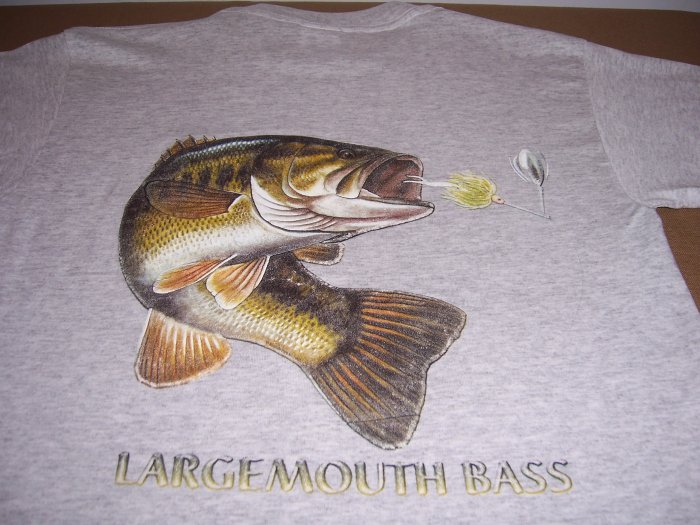 Large Mouth Bass T-shirt 2-sided Large New