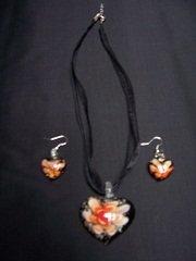 Murano Glass Pendant and earrings black heart orange flower