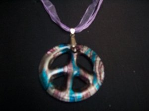 New Murano Glass Peace Sign Pendant Necklace