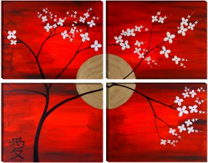 Modern Abstract Feng Shui Painting with Love Symbol