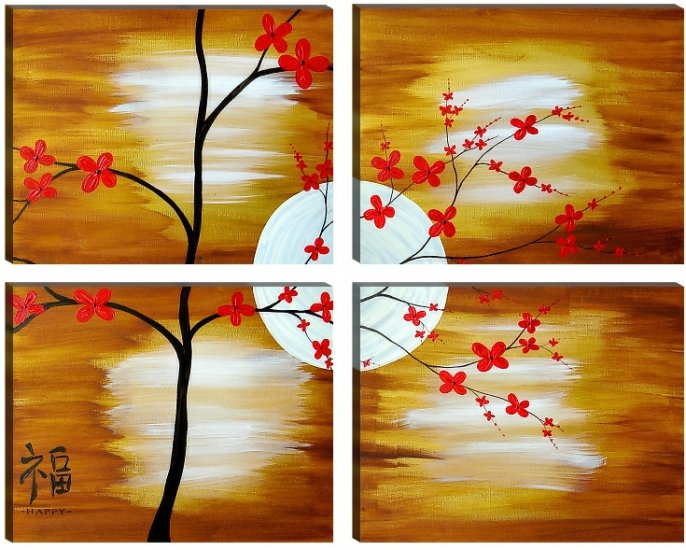 ABSTRACT FENG SHUI Style Decor Painting HAPPY Symbol