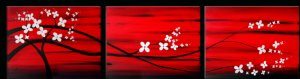 Feng Shui Floral Asian Tree Painting Red and Black