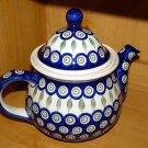 Polish Pottery Teapot Coffee Pot Peacock Zaklady Ceramiczne Boleslawiec Poland
