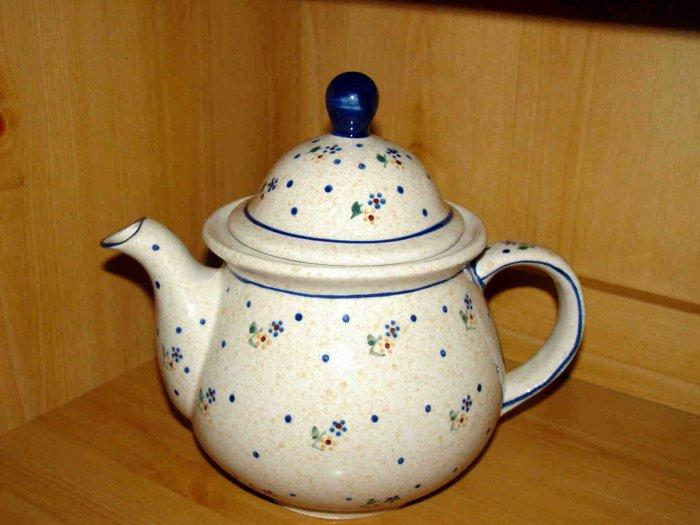 Polish Pottery Teapot Coffee Pot  Meadow Zaklady Ceramiczne Boleslawiec Poland
