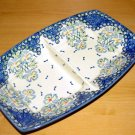 Polish Pottery Unikat Divided Serving Dish Fancy Flowers Boleslawiec