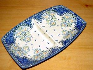 Polish Pottery Unikat Divided Serving Dish Fancy Flowers Boleslawiec