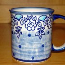 Polish Pottery Coffee Cup  Unikat Muted Blue Boleslawiec Poland