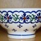 Polish Pottery Bowl Pedestal Country Flower Wiza Boleslawiec Poland