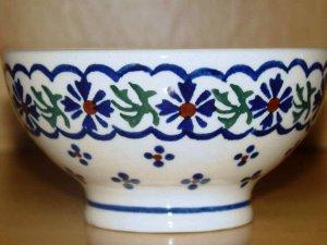 Polish Pottery Bowl Pedestal Country Flower Wiza Boleslawiec Poland