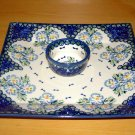 Polish Pottery Unikat Tray & Dipping Bowl Set In Fancy Flowers, Boleslawiec Poland