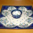Polish Pottery Unikat Tray & Dipping Bowl Set In Fancy Flowers, Boleslawiec Poland