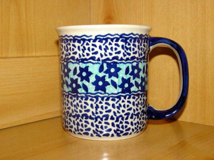 Polish Pottery Coffee Cup Mug In Midnight Star  Boleslawiec Poland