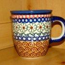 Polish Pottery Coffee Cup  Unikat Flower Circle Boleslawiec Poland