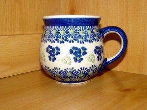 Polish Pottery Bubble Mug Blue Rose Boleslawiec Poland