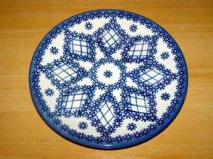 Polish Pottery Dessert Plate Lattice Unikat  Boleslawiec Poland