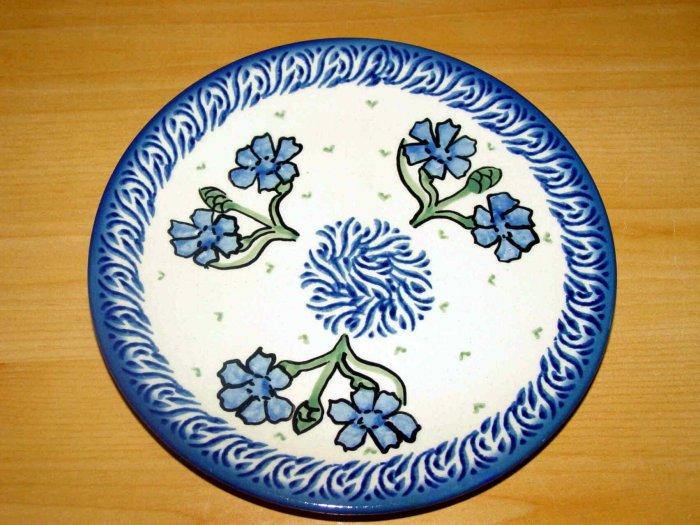 Polish Pottery Dessert Plate Cornflower Unikat Boleslawiec Poland
