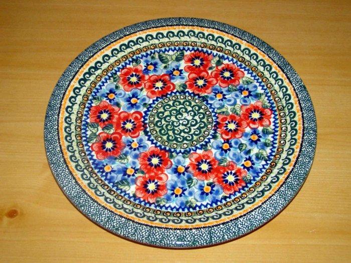 Polish Pottery Dinner Plate Unikat  Art 129 Signed Zaklady Ceramiczne Boleslawiec Poland