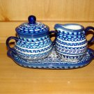 Polish Pottery Sugar and Creamer  Exclusive Unikat  With Plate Boleslawiec Poland