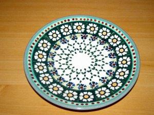 Polish Pottery Dessert Plate Green Daisy Wiza Boleslawiec Poland