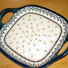 Polish Pottery ServingTray W/Handles Madison Zaklady-Gat 1 Boleslawiec Poland