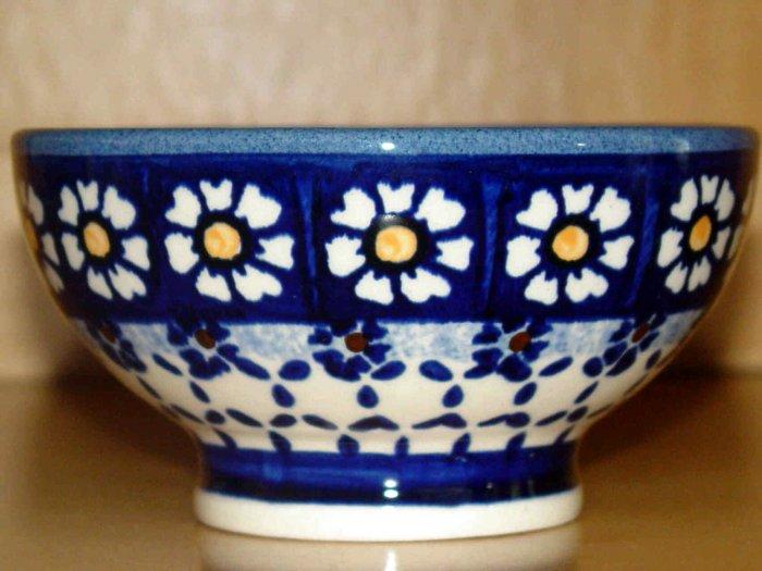 Polish Pottery Bowl Pedestal Blue Daisy Wiza Boleslawiec Poland