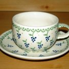 Polish Pottery Teacup and Saucer  Boleslawiec Poland Zaklady Ceramiczne Grapes Pattern